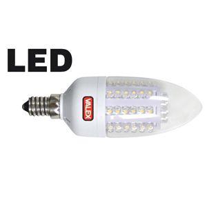 LAMPADINA A 60 LED CANDELA TRASPARENTE 3W E14 LUCE CALDA
