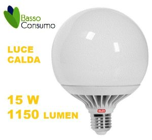 LAMPADINA LED GLOBO ATTACCO E27 LUCE CALDA 15W 1150 LUMEN