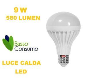LAMPADINA LED GLOBO ATTACCO E27 LUCE CALDA 9W 580 LUMEN