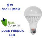 LAMPADINA LED GLOBO ATTACCO E27 LUCE FREDDA 9W 580 LUMEN