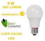 LAMPADINA LED GLOBO DIMMERABILE ATTACCO E27 LUCE CALDA 9W 800 LUMEN