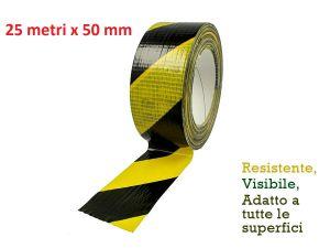 ROTOLO NASTRO ADESIVO SEGNALETICO IN PVC TELATO GIALLO/NERO 25 metri x 50 mm